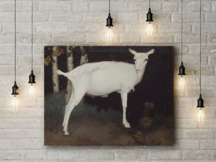 Jan Mankes: Young White Goat. Fine Art Canvas.
